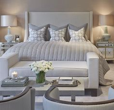 Love This Grey And Beige Bedroom. Upholstered Headboard, Matching Mirrored  Nightstands, Home Decor; Faux Flower And Joe Malone Candle On Coffee Table.