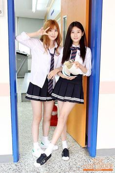 credit by Kellya School Girl Dress, School Girl Japan, School Dresses, Nara, Girls In Mini Skirts, Mini Dresses, Alice, Stage Outfits, Korean Celebrities