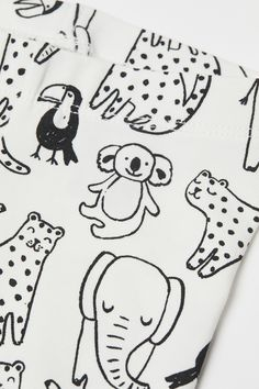 H&M Cotton Leggings White is part of Hm Offers Fashion And Quality At The Best Price - Leggings in soft cotton jersey with an elasticized waistband and ribbed hems Kids Patterns, Print Patterns, Textiles, Illustrations, Illustration Art, Conversational Prints, Kids Graphics, Cotton Leggings, Kids Prints