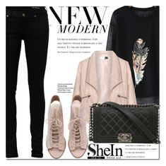 """Shein Black Print Loose T-shirt"" by fattie-zara ❤ liked on Polyvore featuring Zizzi, Yves Saint Laurent and Chanel"