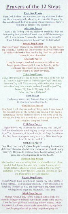 FREE TWELVE STEP PRAYER BOOKMARK