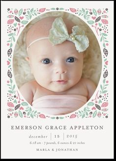 Birth Announcement Newest Arrival Girl Square Corners Pink - Baby arrival announcement