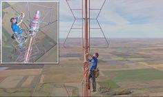Tätä kaveria ei huimaa: lampun vaihto 450 metrin korkeudessa, ja selfie huipulla. Daredevil climbs 1,500 feet to change a lightbulb atop a TV tower dailymail.co.uk