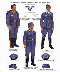 Standard blue/grey Luftwaffe uniforms of WWII