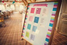 Colourful wedding table plan