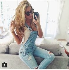 pants overalls jeans denim love this blue jeans dungarees sunglasses blonde hair fashion white denim overalls skinny jeans cute jeans jumpsuit denim romper jeans oberalls blue style outfit ripped cool ootd shein love casual