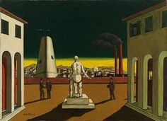 Available for sale from Galerie Andrea Caratsch, Giorgio de Chirico, Piazza d'Italia Oil on canvas, × cm Italian Painters, Italian Artist, Moonlight Painting, Modern Artists, Science Art, Surreal Art, Fractal Art, Dark Art, Les Oeuvres
