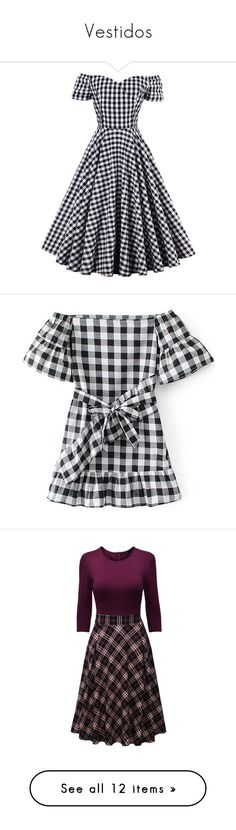 """""""Vestidos"""" by micaaass ❤ liked on Polyvore featuring dresses, short dresses, off shoulder midi dress, short skater dress, midi day dresses, off shoulder skater dress, off the shoulder short dress, off the shoulder flounce dress, black and white plaid dress and white and black dress"""