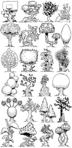 Trees, Drawing|Doodleing & Drawing|-- These are very unique looking little trees.
