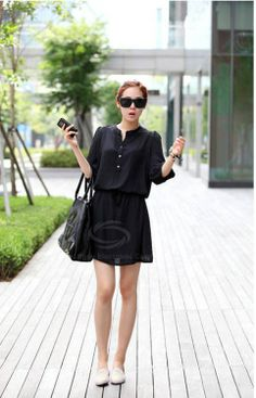 Fashion Style Stand Neck Solid Color Waist Drawstring Loose Fit Summer Dress For Women (BLACK,M) China Wholesale - Sammydress.com