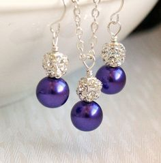 Purple Bridesmaid jewelry set of necklace and by LaurinWedding, $14.00