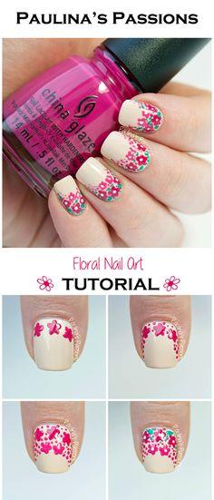 Image via Flower-Nail-Art-Designs-Acrylic-Free-Hand-Floral-Nail-Art Floral Nail Art, Nail Art Diy, Diy Nails, Rose Nails, Flower Nails, Rose Nail Art, Rose Art, Spring Nail Art, Spring Nails