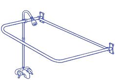 """Clawfoot Tub Add On Shower Includes 54"""" D-Shower Rod -- Details can be found by clicking on the image."""