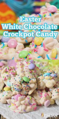 Easter Crockpot Candy Clusters are a simple, impressive homemade Ea., Desserts, Easter Crockpot Candy Clusters are a simple, impressive homemade Easter candy that everyone will be raving about! An easy crockpot desser. Crockpot Dessert Recipes, Crock Pot Desserts, Köstliche Desserts, Holiday Desserts, Holiday Baking, Holiday Treats, Holiday Recipes, Delicious Desserts, Crock Pot Candy