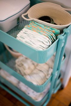 Turn an IKEA bar cart into the ultimate diaper caddy.