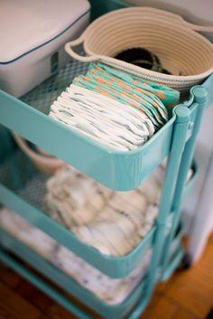 Turn an IKEA bar cart into the ultimate diaper caddy.