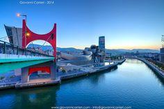 The view of Bilbao: the Nervion River, the bridge De la Salve, the Guggenheim Museum and the skyscraper Iberdrola #FredericClad #THEFARM