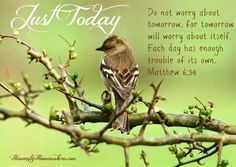 Devotion. Do not worry about tomorrow, for tomorrow will worry about itself. Each day has enough trouble of its own (Matthew 6:34)