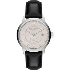Burberry Unisex Swiss Black Leather Strap Watch 40mm BU10000 (€485) ❤ liked on Polyvore featuring jewelry, watches, no color, leather watches, burberry, leather jewelry, burberry watches and burberry jewelry