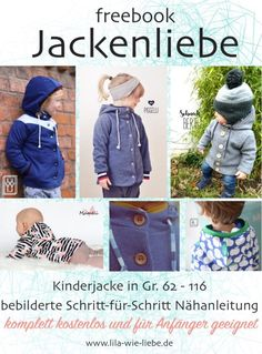Sew baby and children& jacket (free sewing pattern) - HA Baby- und Kinderjacke nähen (kostenloses Schnittmuster) – HANDMADE Kultur Sew baby and children& jacket (free sewing pattern) - Sewing For Kids, Baby Sewing, Sew Baby, Sewing Patterns Free, Free Sewing, Sewing Tutorials, Free Pattern, Pull Chat, Baby Clothes Shops