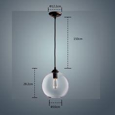 CLAXY Suspension Salle à manger Lustre LED Industrielle Style en Verre Luminaire Cordon de Montage Pendant Light Loft Culot E27: Amazon.fr: Luminaires et Eclairage