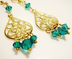 Bohemian Style Teal Crystal Gold Earrings from Romance on Storenvy