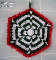PINK ROSE CROCHET: Pega Panelas Kaleidoscope Verde e Branco