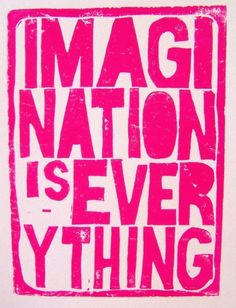 LINOCUT PRINT Imagination is Everything by thebigharumph on Etsy. #poster