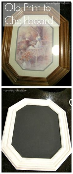 DIY Chalkboards From Old Pictures. Old Picture to Chalkboard Upcycled Crafts, Nifty Crafts, Handmade Crafts, Diy Tableau Noir, Furniture Makeover, Diy Furniture, Repurposed Furniture, Concrete Furniture, Furniture Refinishing