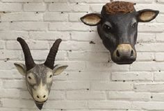 Cow Head Mount - From Antiquefarmhouse.com - http://www.antiquefarmhouse.com/current-sale-events/wall-mount2/mounted-cow-head.html