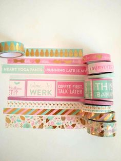 "Washi Tape-24"" Sample/ gold foil Pink Mint washi tape/pastels washi planner tape/gold pineapple / eyelashes / recollections"