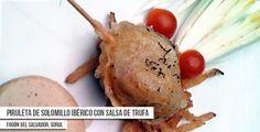 Propuesta para la Ruta Dorada de la Trufa de Restaurante El Fogón del Salvador en Soria: Piruleta de solomillo iberico en salsa de trufa #trufanegra #Soria