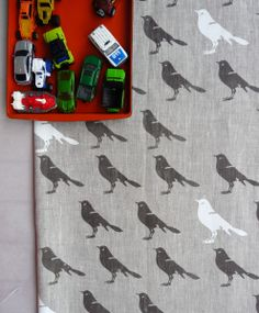 Celina Mancurti - Gray Bird linen hand-screen printed fabric