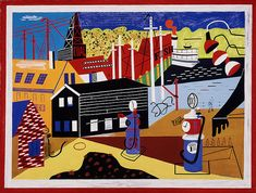 Stuart Davis Landscape with Garage Lights, Oil on canvas, 32 × 42 in. Memorial Art Gallery of the University of Rochester; © Estate of Stuart Davis/Licensed by VAGA, New York Memorial Art Gallery, National Gallery Of Art, Museum Of Modern Art, Art Museum, Stuart Davis, Toledo Museum Of Art, Garage Lighting, Artwork Images, American Art