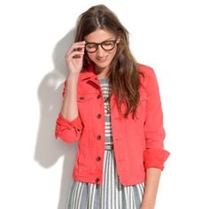 """Madewell/J. Crew Coral Stretch Denim Jacket """"Madewell"""" Coral Denim Jacket in a size XSmall. This jacket is a beautiful color in great condition. Inside tag says its from the Spring 13' collection. Jacket fits like a small with stretch. 99% cotton 1% spandex. Madewell Jackets & Coats Jean Jackets"""