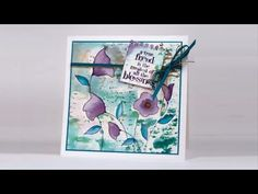 """Watercolour with a stencil - Heather Telford-YouTube  video-8:44min-A tutorial showing how to use a stencil to create a watercolour background. The co-ordinating stamp, """"Charming"""" and stencil, """"Flower Dance"""" from Penny Black are used to make a watercolour panel to be used on a card. All materials used to make the card are listed at the end of the video and on my blog"""