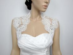 Ivory sleeveless bridal bolero bridal jacket bridal by alexbridal, $74.99