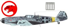 "Messerschmitt Bf.109G-6 Gustav 101/1 szazad ""Puma"" W.021 (W.Nr.760381) Pilot - Lt.Laszlo Daniel. Veszprem, Summer 1944. ..."
