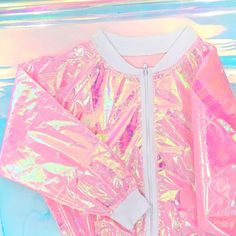 Pink vinyl holographic coat