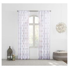 "Marseilles Distressed Border Print Sheer Curtain Panel Whisper 59""x108"" - No. 918"