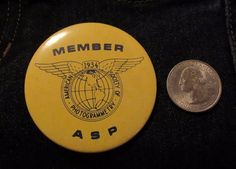 Member 1934 American Society Of Photogrammetry Button Pin Badge RARE FIND #pinback