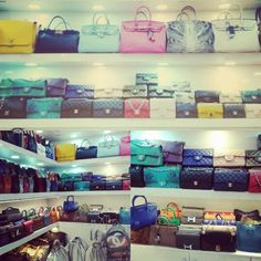 Hundres of leather bags.