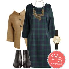 In this outfit: Collecting Credits Dress, Corner Coffee Shop Cardigan, Leafing Town Necklace, Undisputed Class Watch, Reunited Bootie #plaid #fall #fashion #ootd #ModCloth #ModStylist