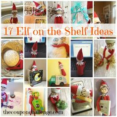 Get ideas for half of December with my 17 Elf on the Shelf Ideas.  These are fun ways to keep your Elf busy and mischievous this holiday season.