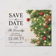 Rustic save the date party postcards featuring a wooden background, festive christmas branches, tree decorations and string twinkle lights. Personalised Party Invitations, Christmas Party Invitations, Save The Date Invitations, Xmas Party, Save The Date Cards, Wedding Invitations, Christmas Save The Date, Christmas Wedding, Elegant Christmas