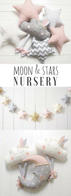 Moon and Stars Nursery Decor, Cloud Nursery, Star Pillow, Cloud Pillow, Moon Pillow, Dream Nursery Theme, #ad #affiliate