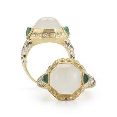 ~18 karat peach gold ~Custom cut Moonstone & Emerald ~.5 carats G-H VSI diamonds