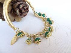 Green Jade Bracelet Gold Plated  Bracelet by sevinchjewelry, $32.00