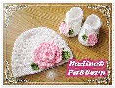 Crochet pattern, Crochet baby hat crochet shoes set PATTERN, crochet hat pattern, crochet slippers, crochet baby shoes from NedinetPattern on Etsy. Baby Beanie Crochet Pattern, Crochet Baby Dress Pattern, Baby Shoes Pattern, Crochet Baby Shoes, Crochet Flower Patterns, Crochet Flowers, Crochet Hats, Crochet Slippers, Pattern Flower