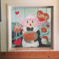 2015/2/2掲載 「ilebois」さんがおこさんの通われている保育園の窓に描かれている月替わりのイラスト作品です。2月 https://www.facebook.com/kitpas2005  #kitpas #キットパス
